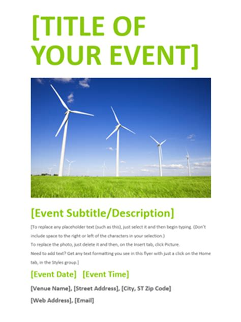 Event Flyer Green Office Templates Event Flyer Template Word