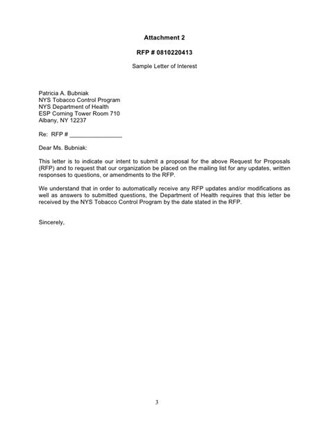Letter Of Intent Doh Attachements For Rfp 0810220413 Doc