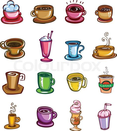 what are the different types of coffee mugs with pictures set of twelve cups different types of coffee vector