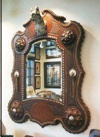 Kape Mirror Scrap 4 Camel cowhide mirror frame trimmed with leather tooled