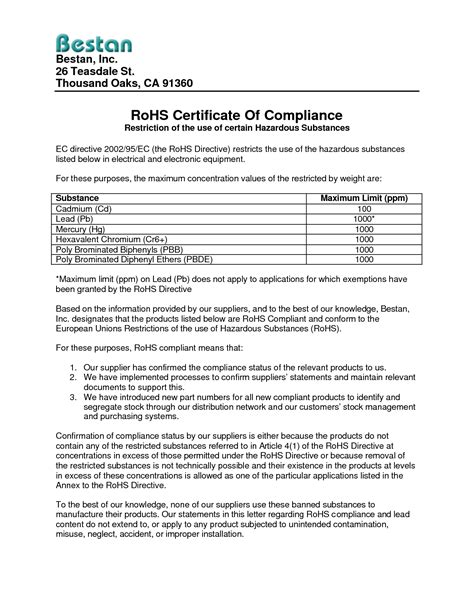 gallery rohs compliance statement template drawing art