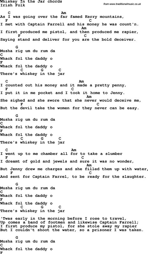 metallica whisky in the jar lyrics j a r lyrics