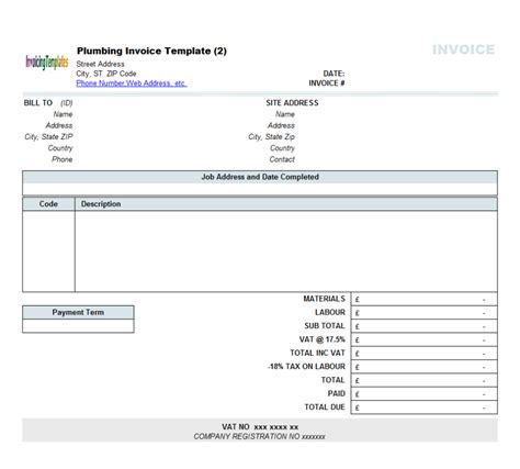 contractor receipt template word plumbing service software 8 results found