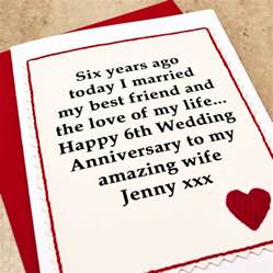 personalised 6th wedding anniversary card by arnott cards gifts notonthehighstreet