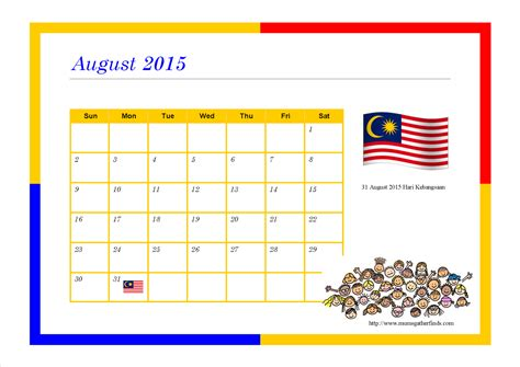printable calendar 2015 malaysia free printable august 2015 calendar for kids parenting times