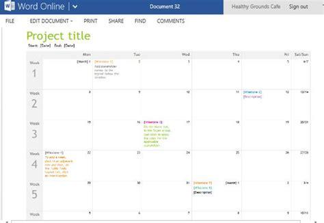 Project Planning Timeline Calendar For Word Online