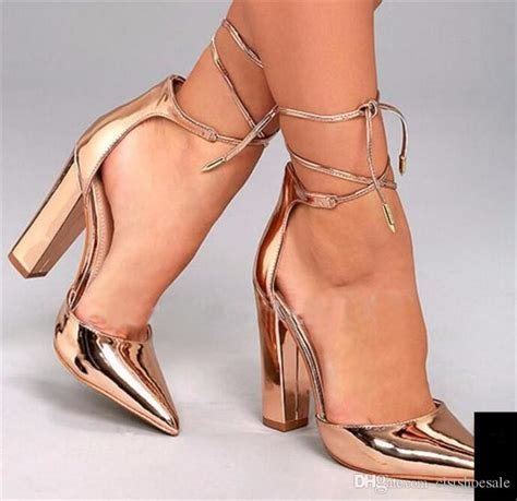 ladies sexy fashion pointed toe gold mirror patent leather chunky heel pumps lace  ankle strap