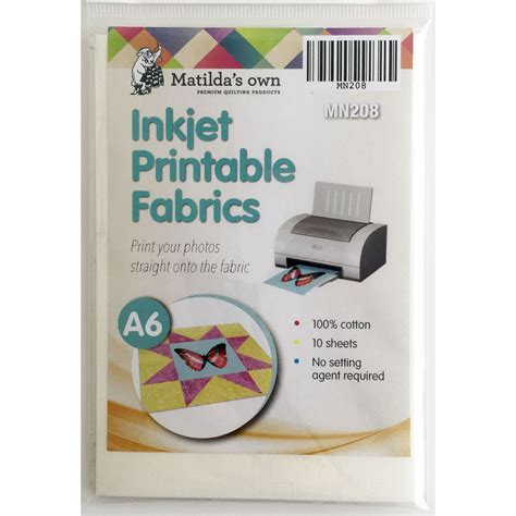 printable fabric rolls for inkjet printers matilda s own inkjet printable fabric sheets a6 size 10