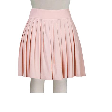 pretty pink high waisted stretch cotton knife pleat skirt