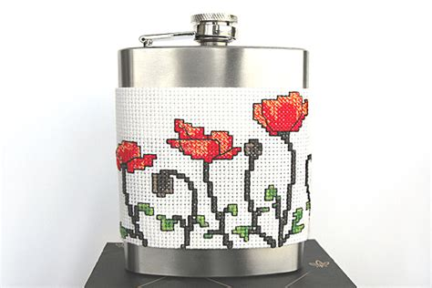 pattern holder cross stitch poppy cup cozy flask holder cross stitch pattern