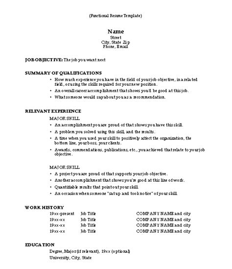 functional format resume template functional resume template