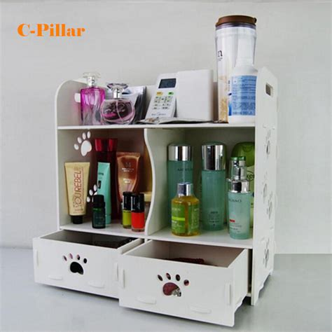 cosmetic organizer white wood makeup storage box desktop