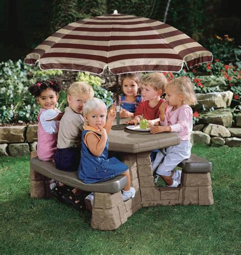 Step2 Naturally Playful Picnic Table With Umbrella by Step 2 Naturally Playful Plastic Picnic Table And Benches