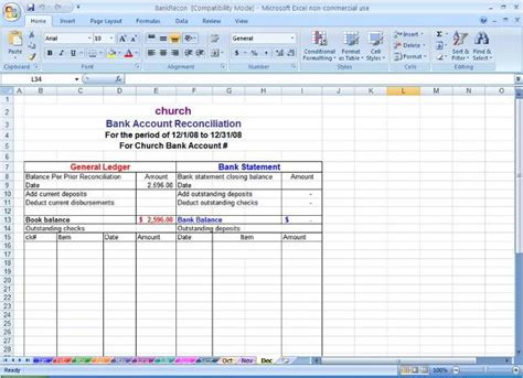 Sle Bank Reconciliation Statement Format Microsoft Office Excel Templates Excel Project Bank Reconciliation Template Excel Free