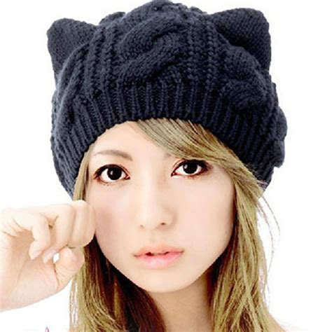 how to knit a hat with ears fashion horns cat ears crochet braided knit