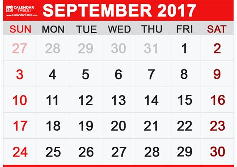 Calendar For September 2017 Printable September 2017 Calendar Calendar Table