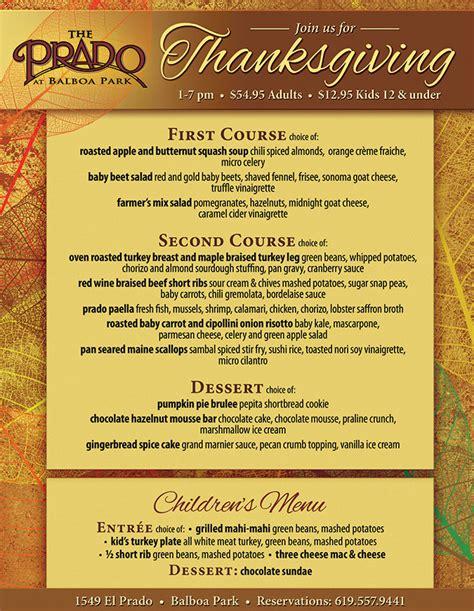 the prado s thanksgiving dinner cohn restaurant group