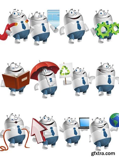 vector robot tutorial tooncharacters robot businessman cartoon character set