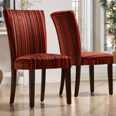 Fabric Parson Dining Room Chairs Homelegance Royal Striped Design Fabric Parson Chairs