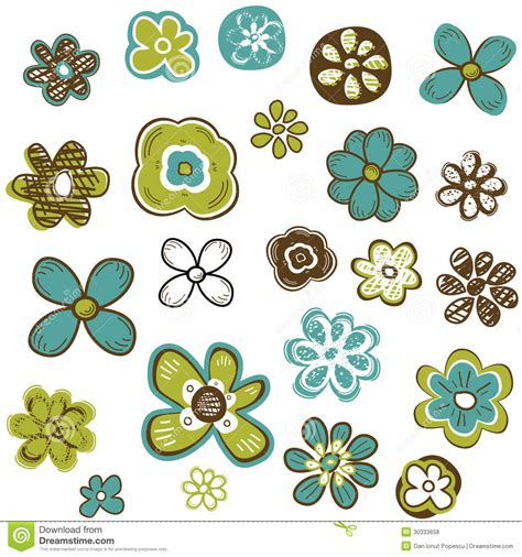 doodle flower free vector doodle flowers set royalty free stock photos image 30333658