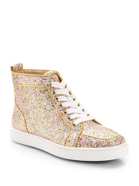 christian louboutins sneakers christian louboutin glitter hightop sneakers in gold lyst