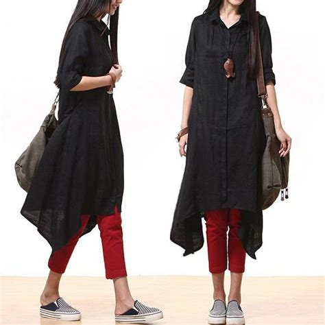Black Cotton Long shirt dress / irregular lace shirt by