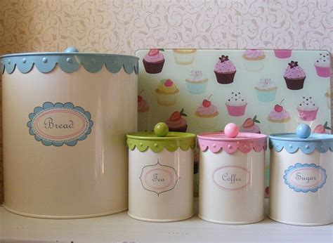 retro style canisters and cupcake glass chopping board by