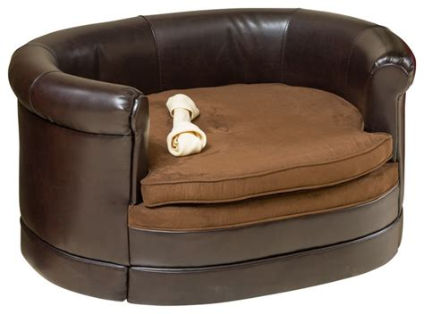 dog chair beds rover oval chocolate brown leather pet sofa bed