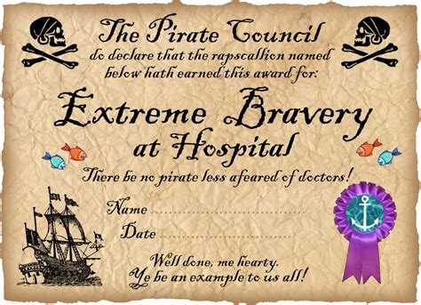 pirate certificate template pirate certificate award for bravery in hospital