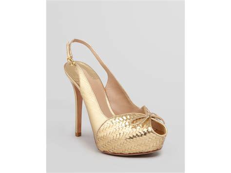 gold high heel pumps joan david peep toe platform pumps camina high heel in