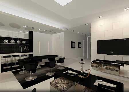 decoração sala de estar sofa preto mubles de sala elegantes