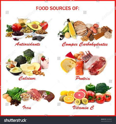 vitamin d carbohydrates chart showing food sources various nutrients stock photo
