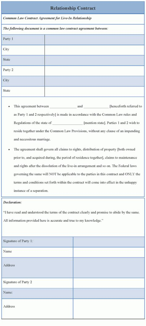 contract template  relationship sample  relationship