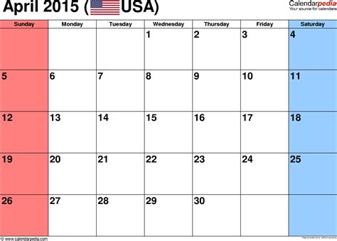 Calendar 2015 Printable April April 2015 Calendars For Word Excel Pdf