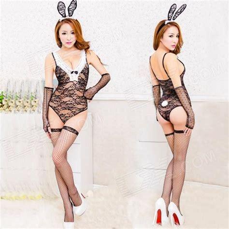 Women's Fashionable Sexy Rabbit Style Lace Sleep Dress w
