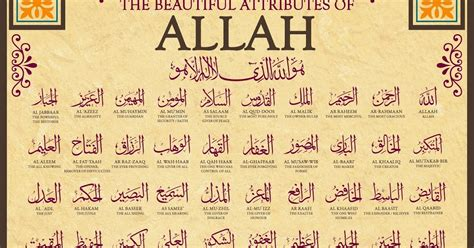 printable version of 99 names of allah know about islam 99 names of allah