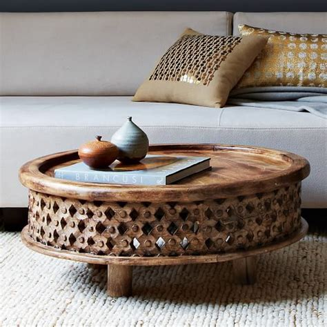 Carved Wood Coffee Table Carved Wood Coffee Table West Elm
