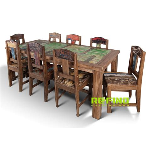 boat dining chairs recycled boat wood dining table with 8 dining chairs