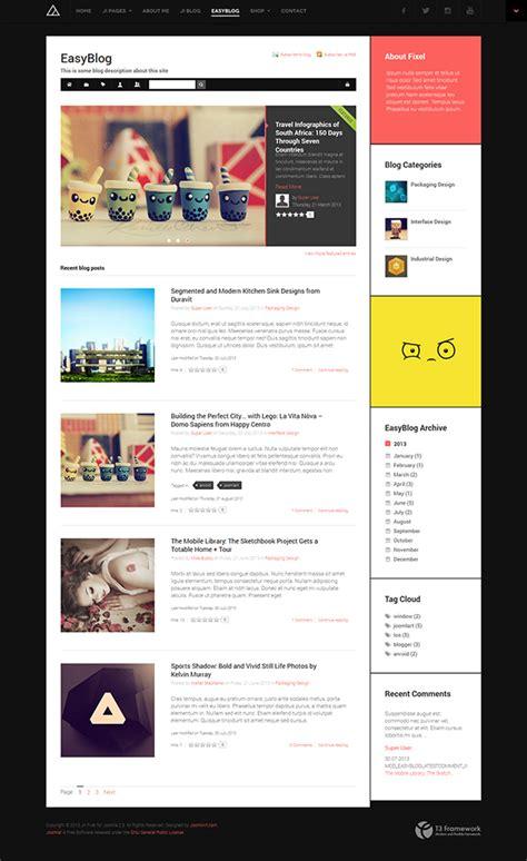 joomla blog layout image link review responsive joomla template ja fixel with easyblog
