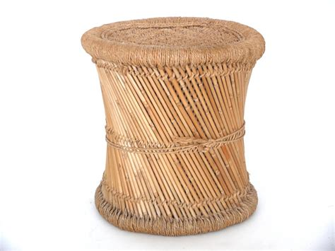 rattan accent table pair of wicker and rattan end tables at 1stdibs