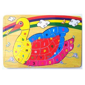 Limited Stock Mainan Edukatif Edukasi Anak Puzzle Stiker Kayu Knop puzzle alfabet dan angka model angsa kayu seru
