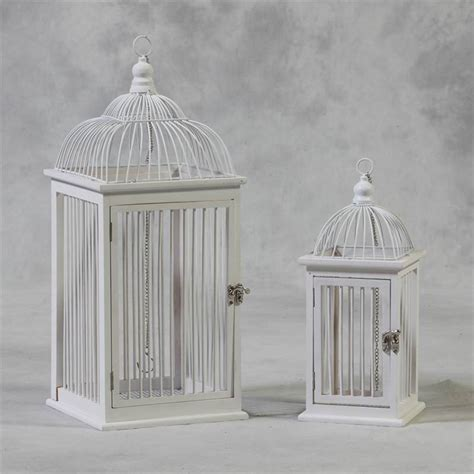 decorative bird cages ireland set of 2 shabby chic antique white decorative hanging bird