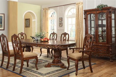 fancy dining room furniture carved oval brown stained mahogany wood dining table with