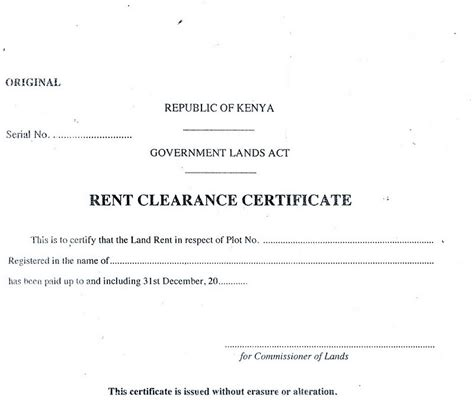 Rent Clearance Letter Eregulations Kenya