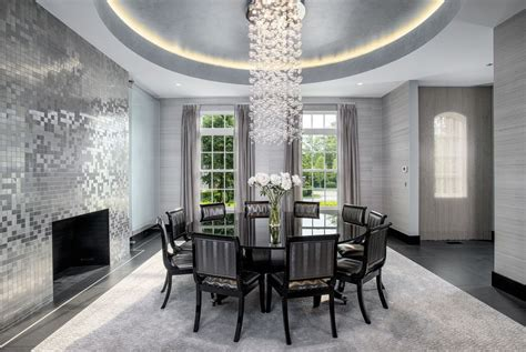 deco dining room with concrete tile interior