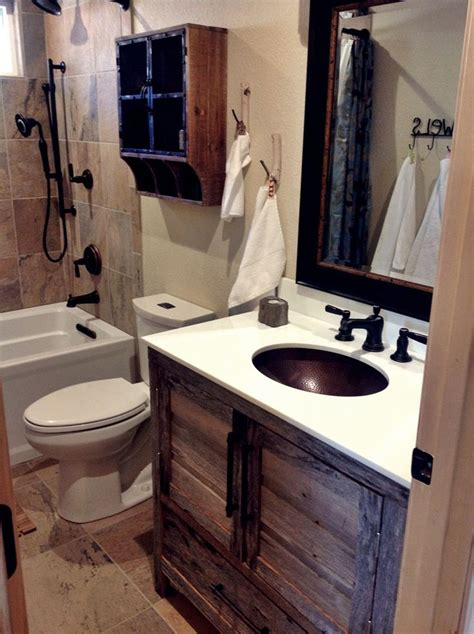 small quot modern rustic quot cabin bathroom remodel with grey barnwood vanity a little bit of