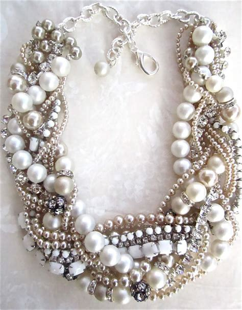 how to make chunky jewelry chunky pearl rhinestone necklace white bridal statement