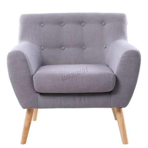 Single Grey Armchair Foxhunter Linen Fabric 1 Single Seat Sofa Tub Armchair