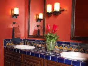 Spanish colonial revival bathroom with red walls amp cobalt blue tile