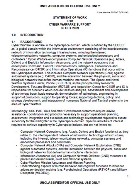 Dod Sow Template hbgary dod cyber warfare support work statement